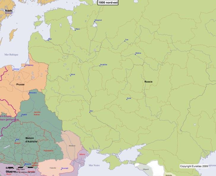 Carte montrant l'Europe en 1800 nord-est