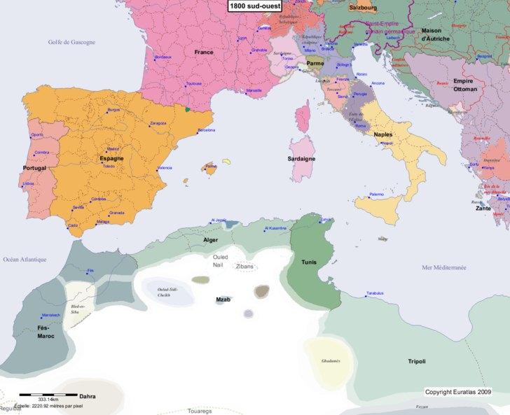 Carte montrant l'Europe en 1800 sud-ouest