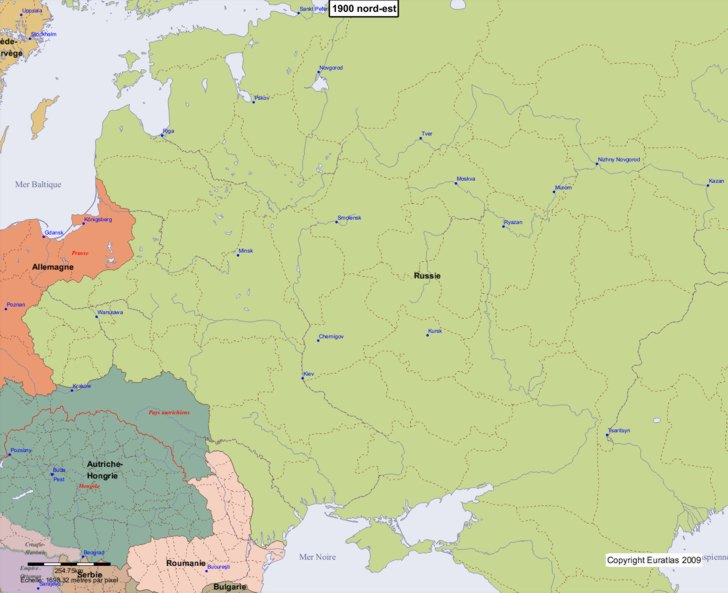 Carte montrant l'Europe en 1900 nord-est