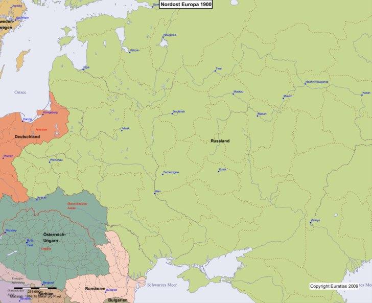 Karte von 1900 Nordost