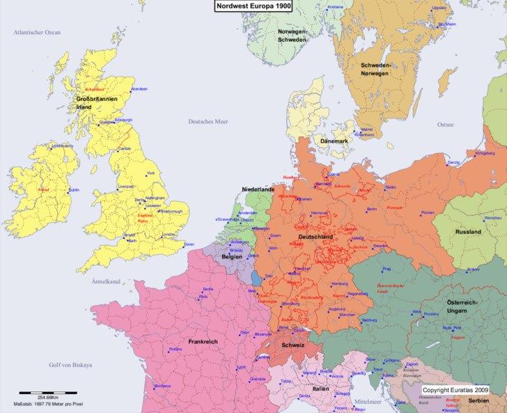 Karte von 1900 Nordwest