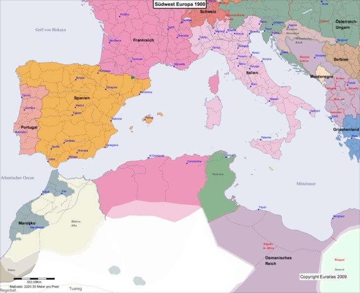 Euratlas Periodis Web Karte Von Europa 1900 Sudwest