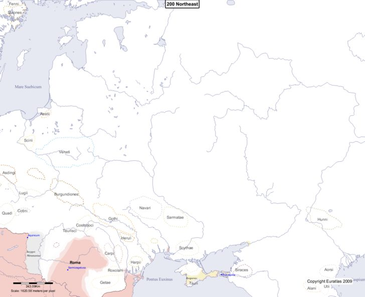 Map showing Europe 200 Northeast