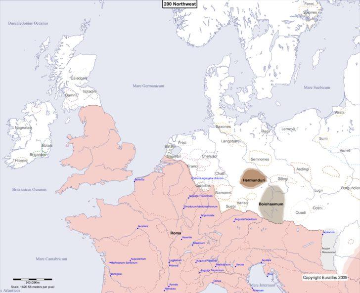 Map showing Europe 200 Northwest