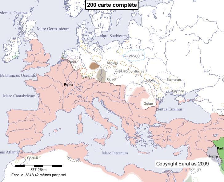 Carte complète de l'Europe en l'an 200