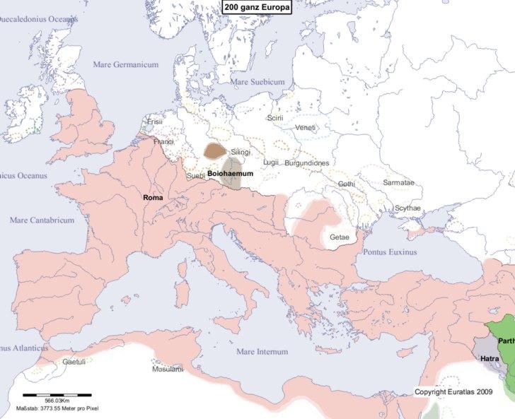 Hauptkarte von Europa im Jahre 200