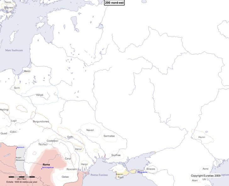 Carte montrant l'Europe en 200 nord-est