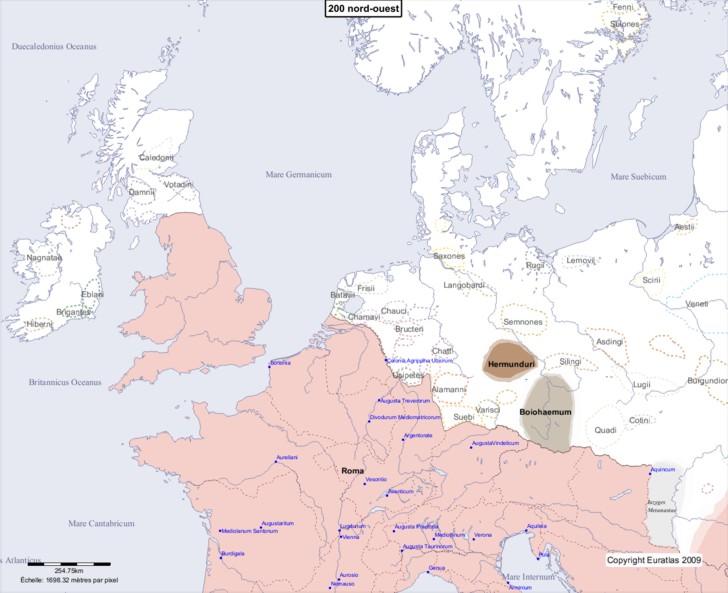 Carte montrant l'Europe en 200 nord-ouest
