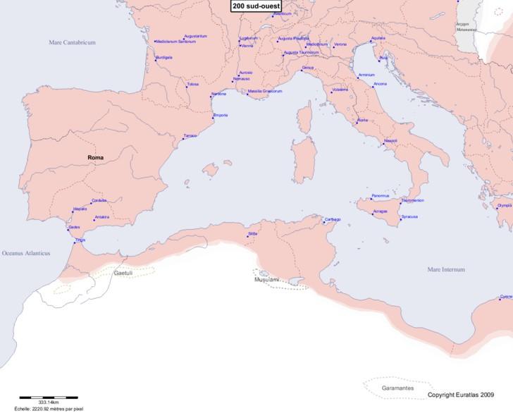 Carte montrant l'Europe en 200 sud-ouest