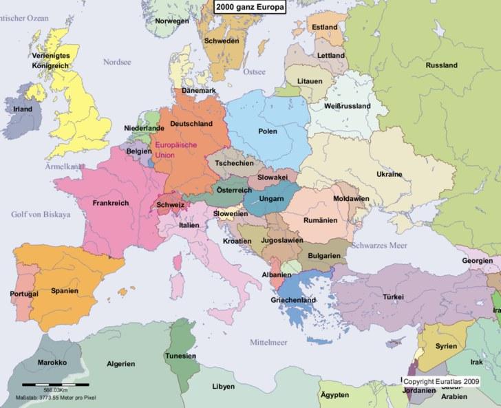 Karte Von Europa.Euratlas Periodis Web Karte Von Europa Im Jahre 2000