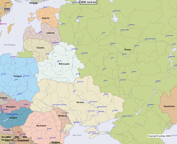 Carte montrant l'Europe en 2000 nord-est