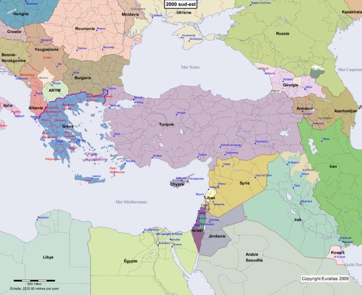 Carte montrant l'Europe en 2000 sud-est