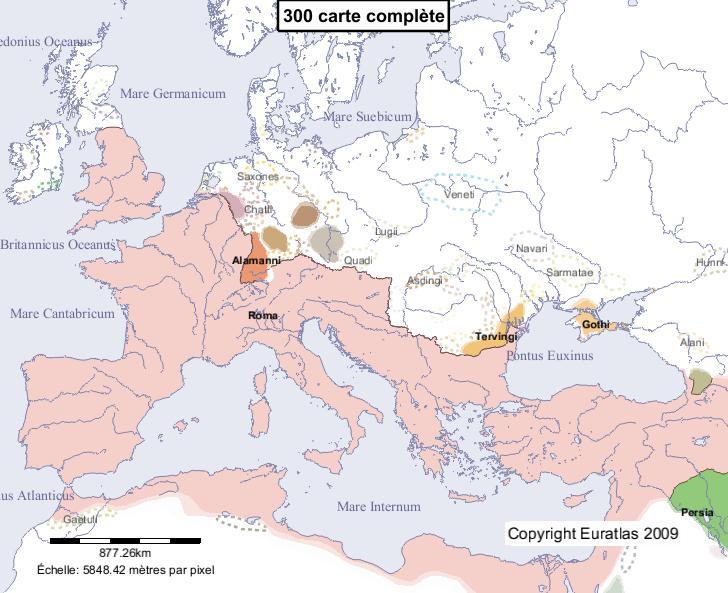 Carte complète de l'Europe en l'an 300