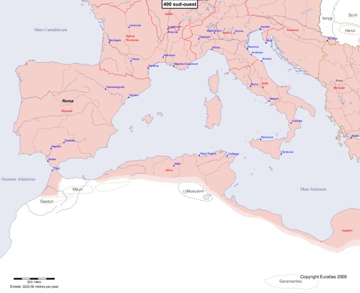 Carte montrant l'Europe en 400 sud-ouest