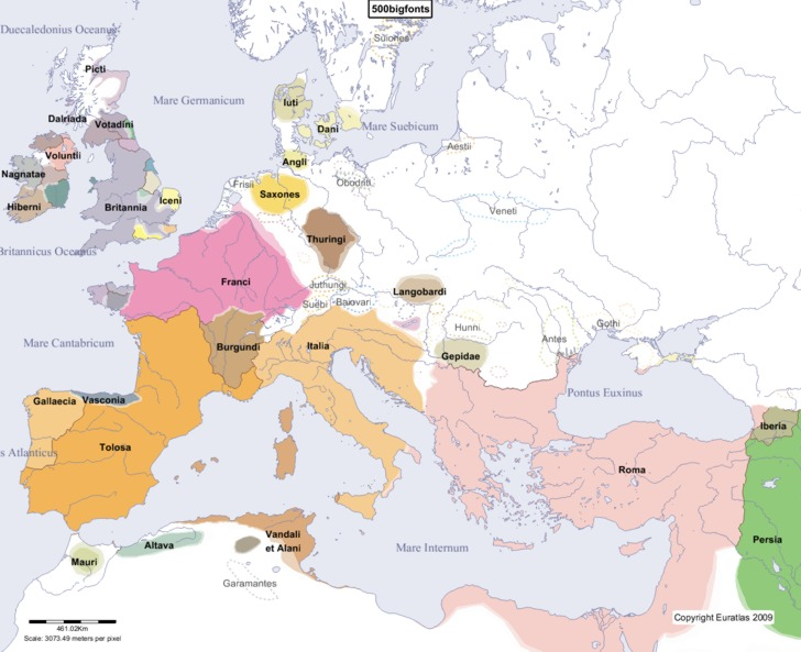 Map Of Asia In 500 Ad.Euratlas Periodis Web Maps To Be Used For The History Of Europe