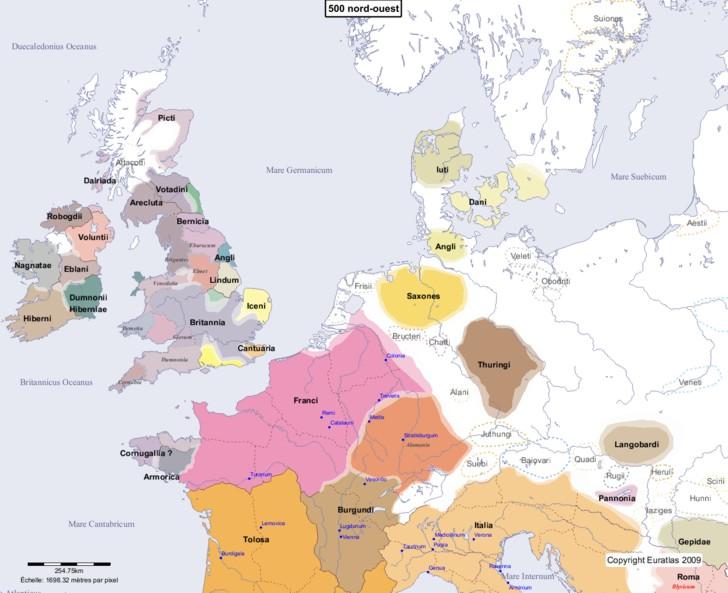 Carte montrant l'Europe en 500 nord-ouest