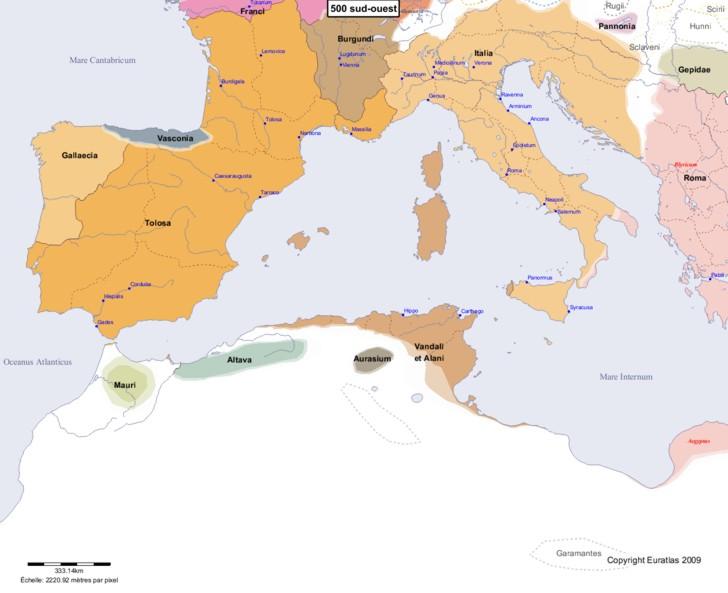 Carte montrant l'Europe en 500 sud-ouest