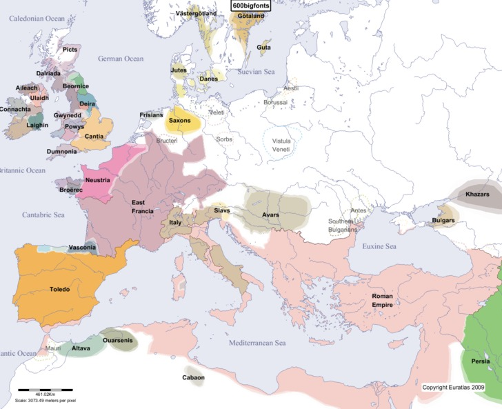 Euratlas Periodis Web  Map of Europe in Year 600