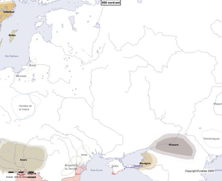 Carte montrant l'Europe en 600 nord-est