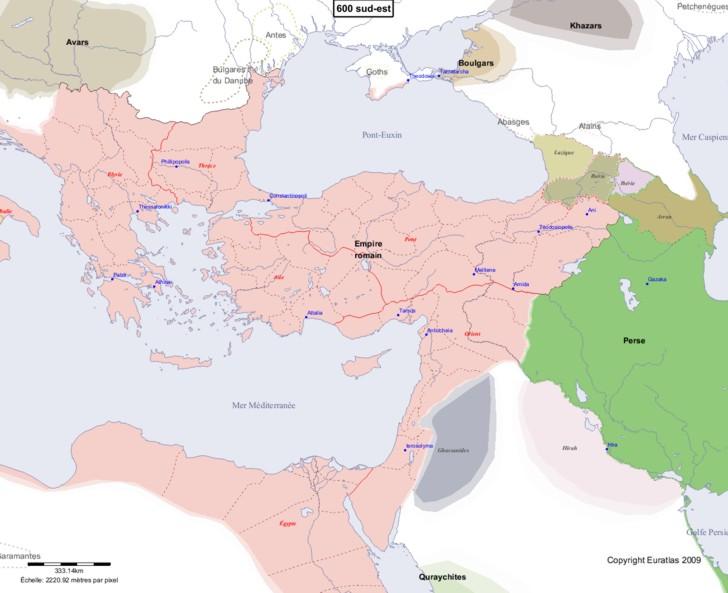 Carte montrant l'Europe en 600 sud-est