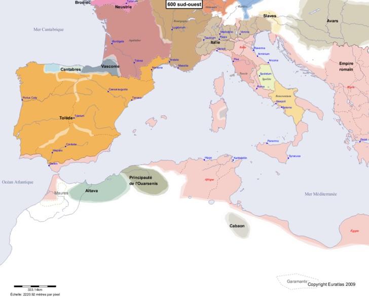 Carte montrant l'Europe en 600 sud-ouest