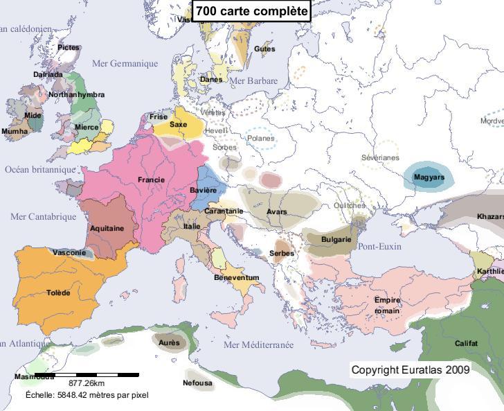 Carte complète de l'Europe en l'an 700