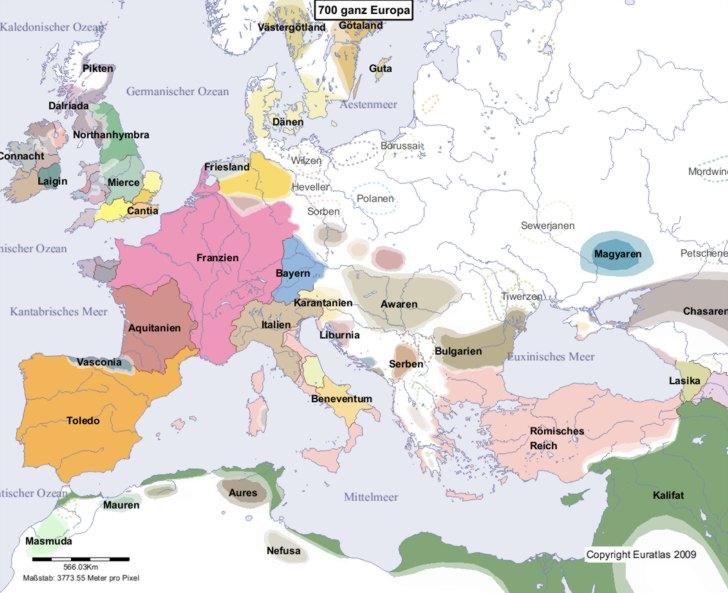 Hauptkarte von Europa im Jahre 700