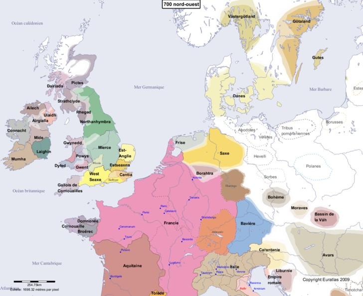 Carte montrant l'Europe en 700 nord-ouest