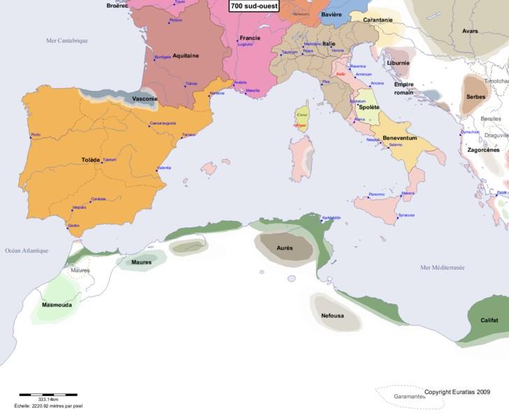 Carte montrant l'Europe en 700 sud-ouest