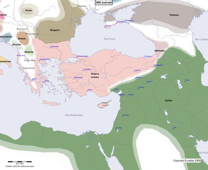 Carte montrant l'Europe en 800 sud-est
