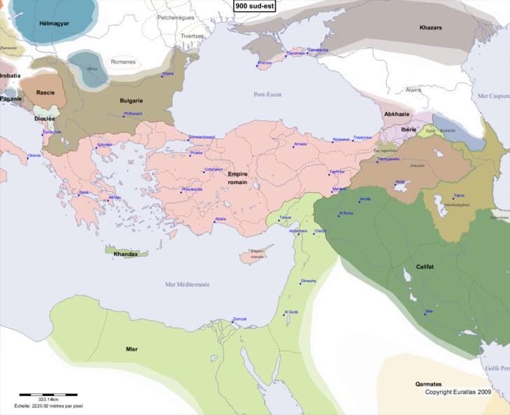 Carte montrant l'Europe en 900 sud-est