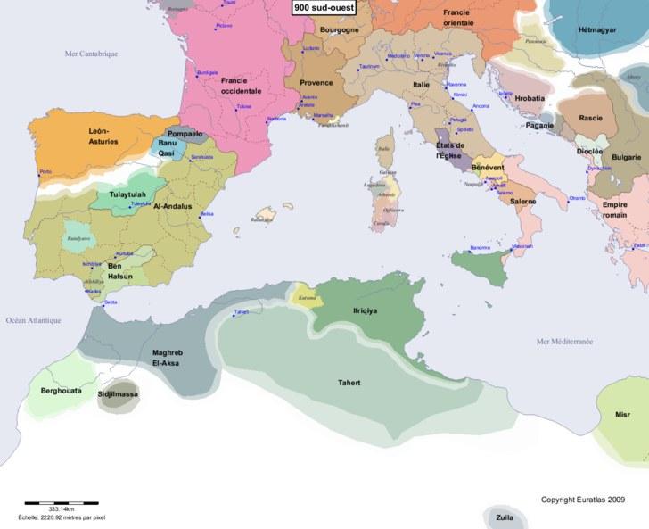 Carte montrant l'Europe en 900 sud-ouest