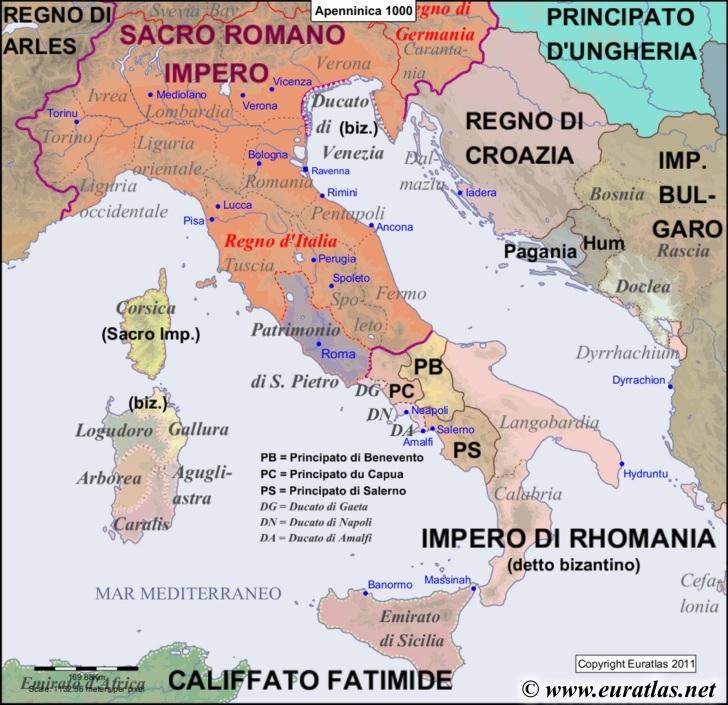 Euratlas Periodis Web - Map of the Apennine Peninsula in 1000