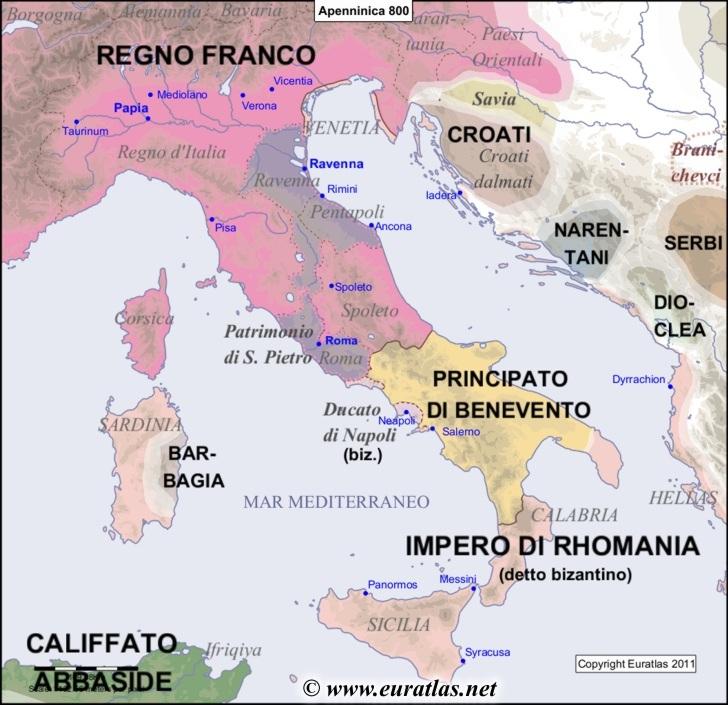 Peninsula In Europe Map.Euratlas Periodis Web Map Of The Apennine Peninsula In 800