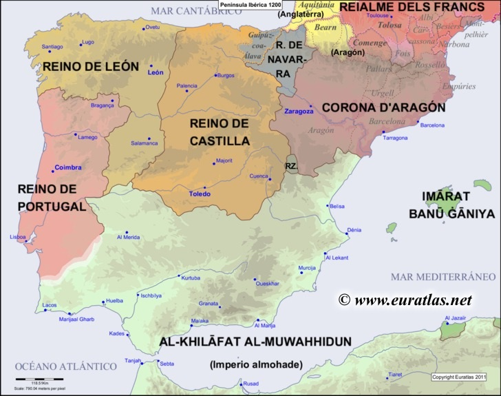 Peninsula In Europe Map.Euratlas Periodis Web Map Of The Iberian Peninsula In 1200