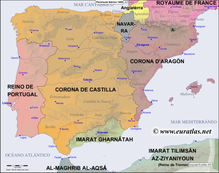 Euratlas Periodis Web - Map of the Iberian Peninsula in 1400