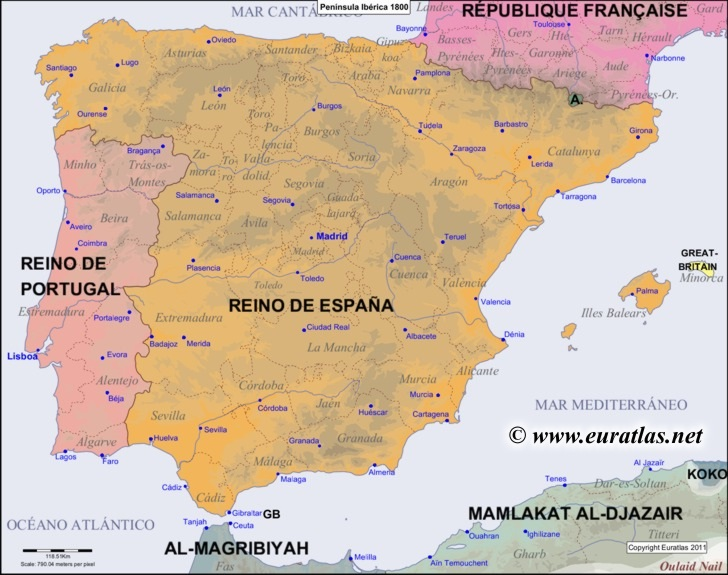 Map Of The Iberian Peninsula In The Year 1800