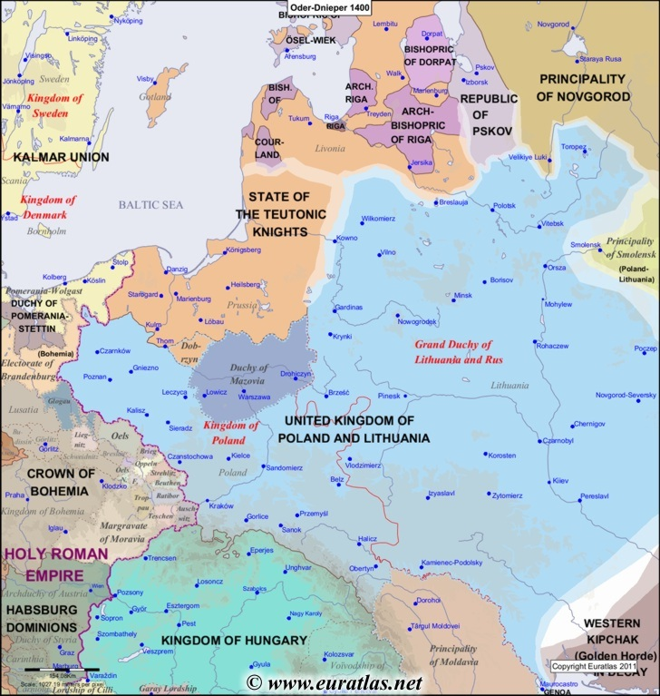 Euratlas Periodis Web - Map of the Oder-Dnieper Area in 1400