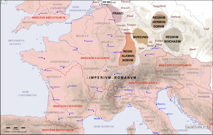 map of pyrenees in europe Euratlas Periodis Web   Map of the Pyrenees Rhine Area in 300