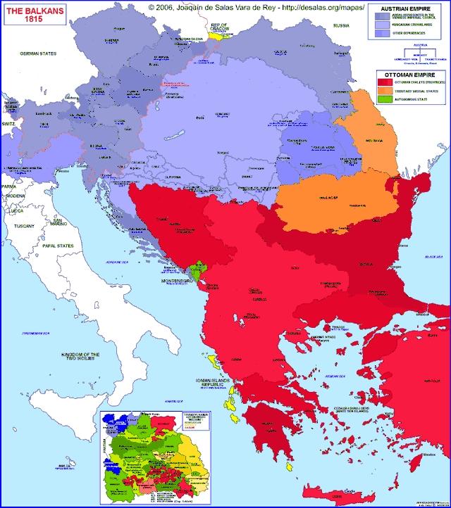 Hisatlas - Map of Balkan Peninsula 1815