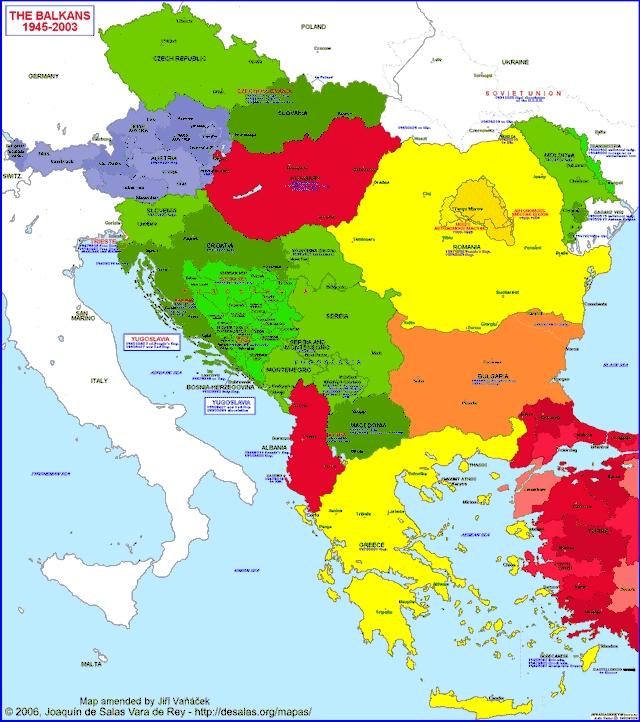 Hisatlas Map Of Balkan Peninsula - Central europe map 1945