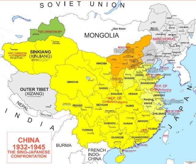 Hisatlas map of china 1932 1945 china 1945 euratlas historical maps geography maps gumiabroncs Images