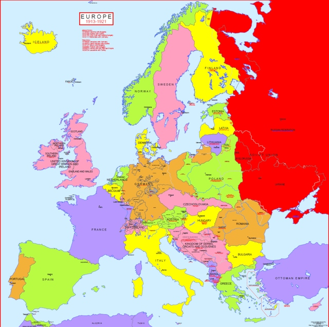 Hisatlas - Map of Map of Europe 1913-1921