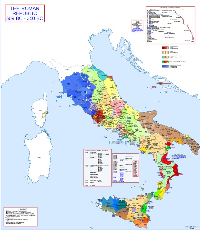 Hisatlas - Map of Roman State 509 BC - 350 BC