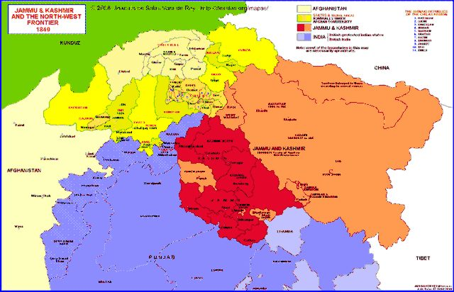 Hisatlas - Map of Jammu & Kashmir and the North-West Frontier 1849