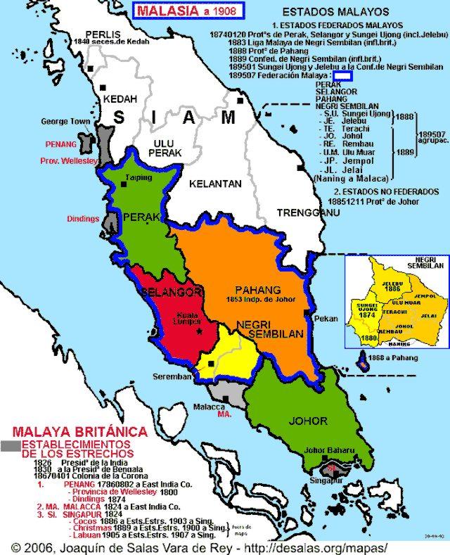 Peninsular Malaysia: Map Of Malay Peninsula 1826-1908
