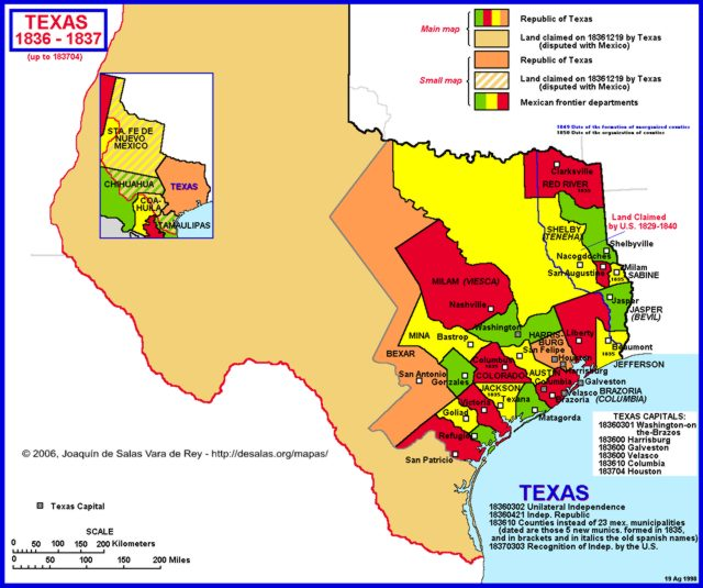 Map Of Texas In 1836.Hisatlas Map Of Texas 1836 1837