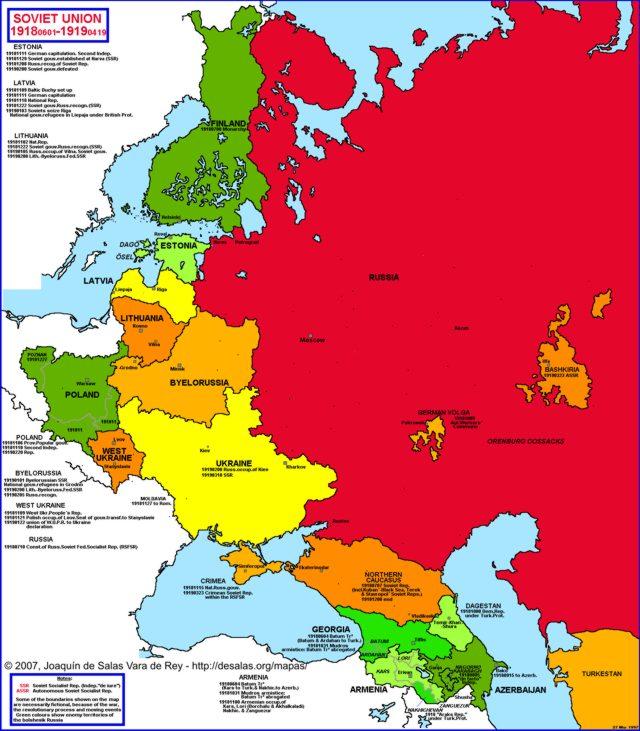 Hisatlas Map of Soviet Union 19181919
