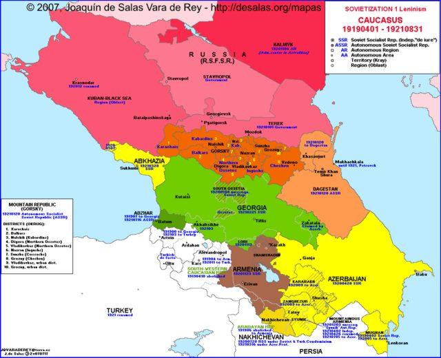 Hisatlas Map Of Caucasus - Georgia map 1921